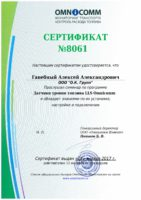 "Сертификат установщика ДУТ ""LLS Omnicomm"""